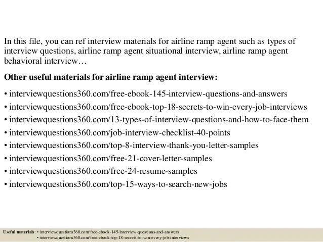 Ramp Service Agent Sample Resume] Sample Cover Letter For ...