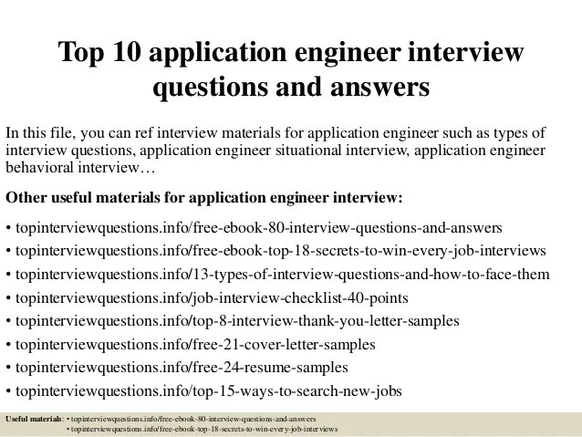 Top 10 application engineer interview questions and answers