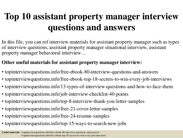 Top 10 assistant property manager interview questions and