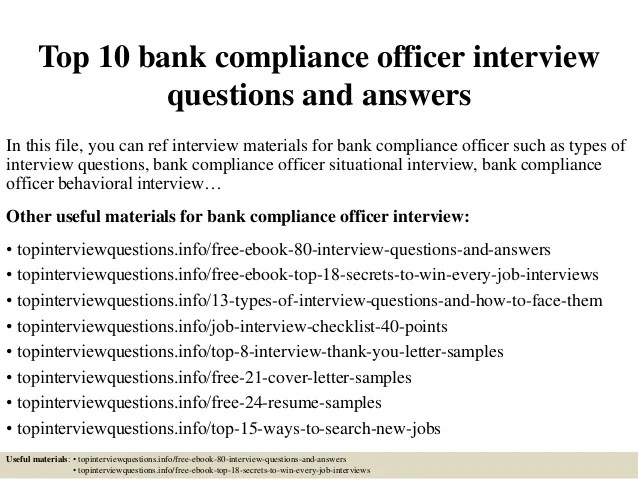 Top 10 Bank Compliance Officer Interview Questions And Answers