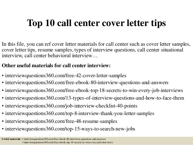 Top 10 call center cover letter tips