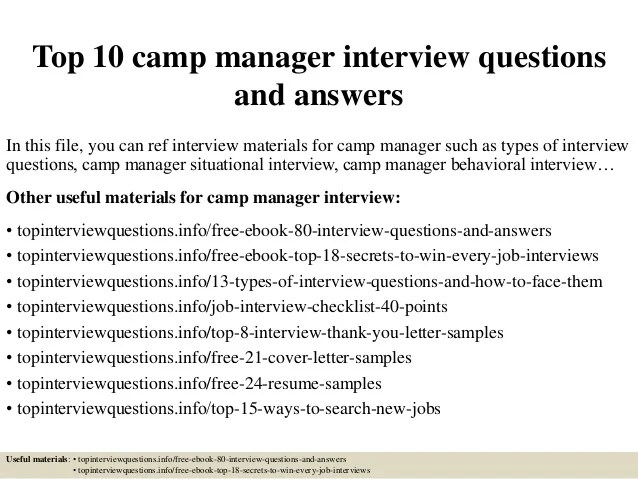 Top 10 camp manager interview questions and answers