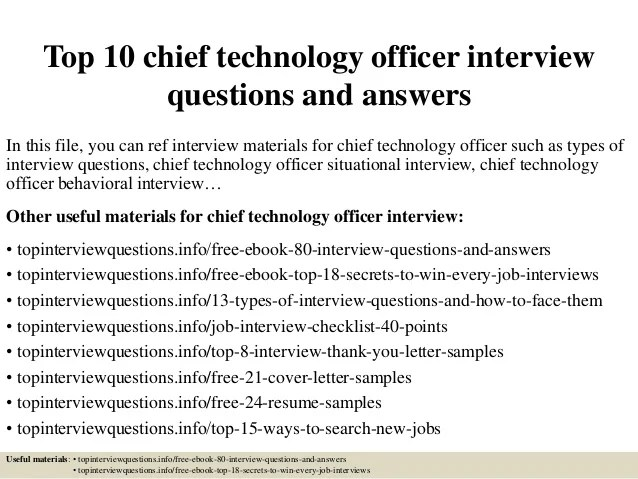 Top 10 chief technology officer interview questions and answers