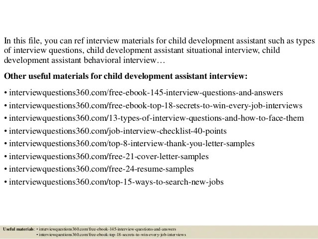 Top 10 Child Development Assistant Interview Questions And