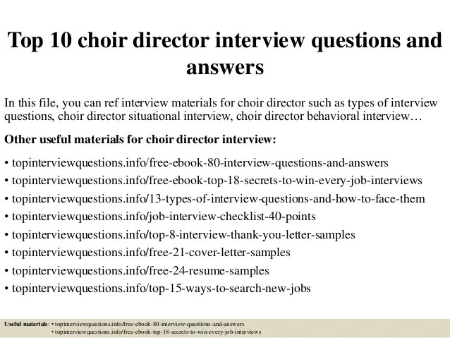 Top 10 Choir Director Interview Questions And Answers