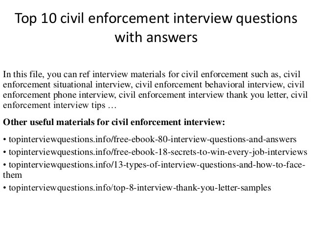 Top 10 Civil Enforcement Interview Questions With Answers