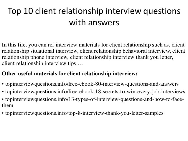 Top 10 Client Relationship Interview Questions With Answers
