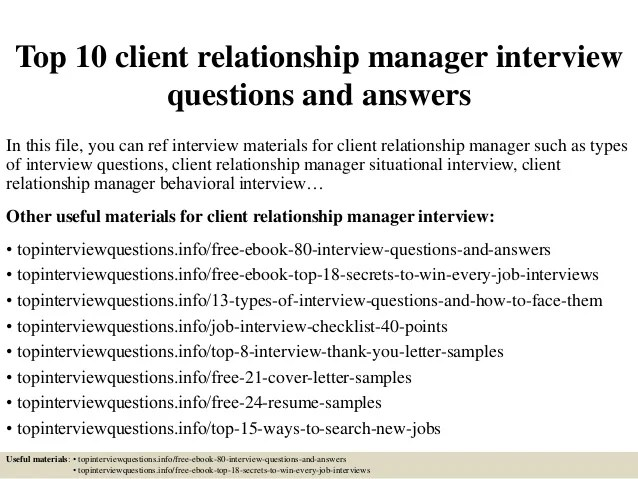 Top 10 Client Relationship Manager Interview Questions And