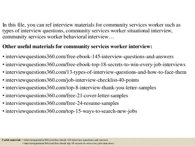 Top 10 community services worker interview questions and