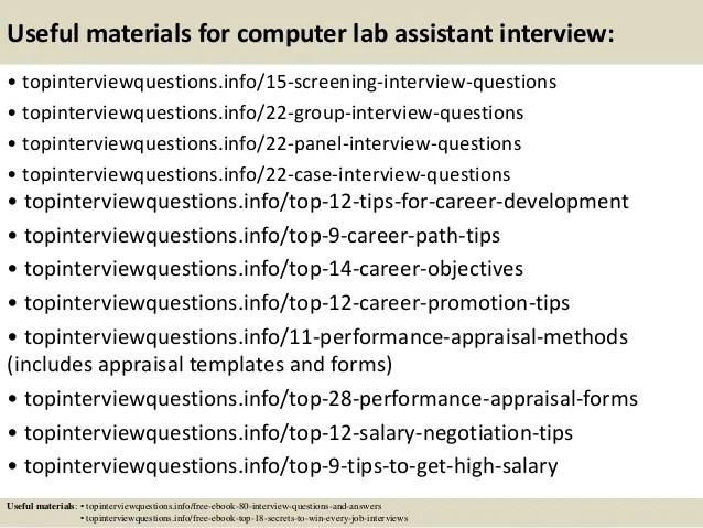 Top 10 computer lab assistant interview questions and answers