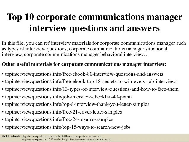 Top 10 Corporate Communications Manager Interview
