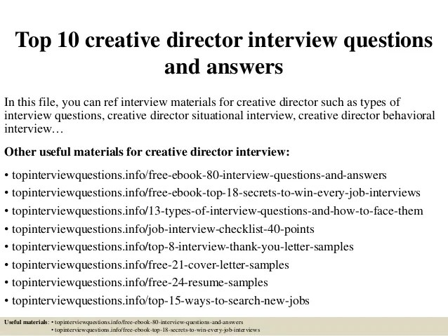 Top 10 creative director interview questions and answers