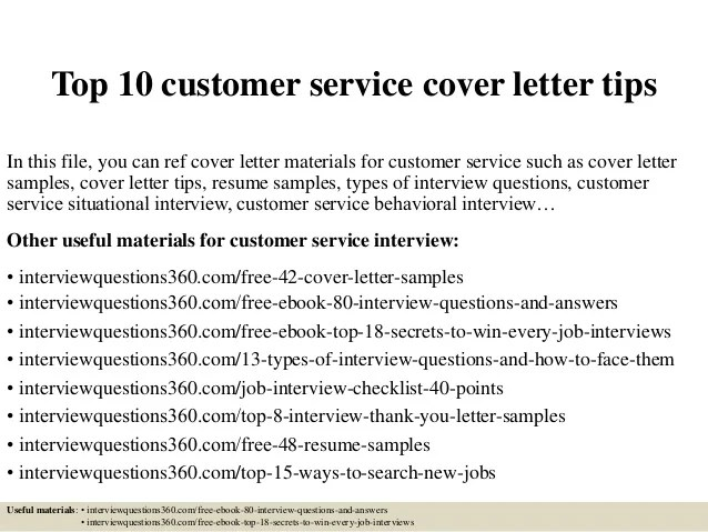 Top 10 customer service cover letter tips