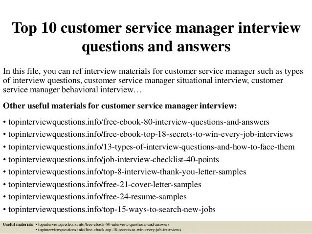 Top 10 customer service manager interview questions and answers