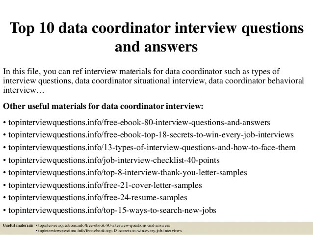 Top 10 Data Coordinator Interview Questions And Answers