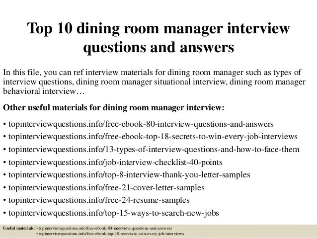Top 10 dining room manager interview questions and answers