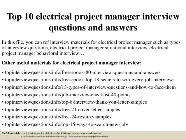 Top 10 Electrical Project Manager Interview Questions And