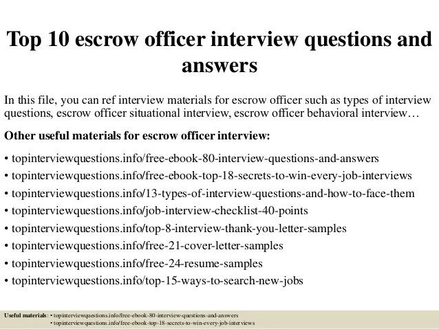 Top 10 Escrow Officer Interview Questions And Answers