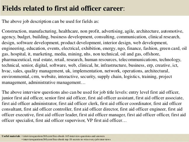Top 10 First Aid Officer Interview Questions And Answers