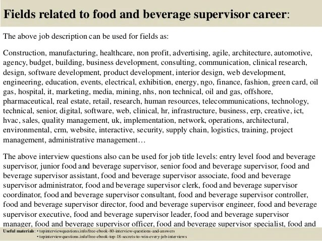 Top 10 Food And Beverage Supervisor Interview Questions