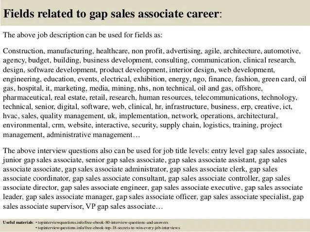 gap sales associate job description