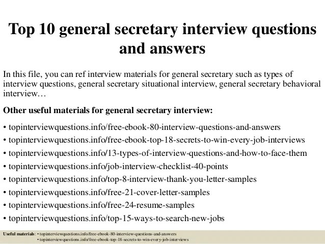 Top 10 General Secretary Interview Questions And Answers