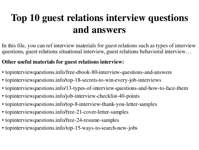 Top 10 Guest Relations Interview Questions And Answers