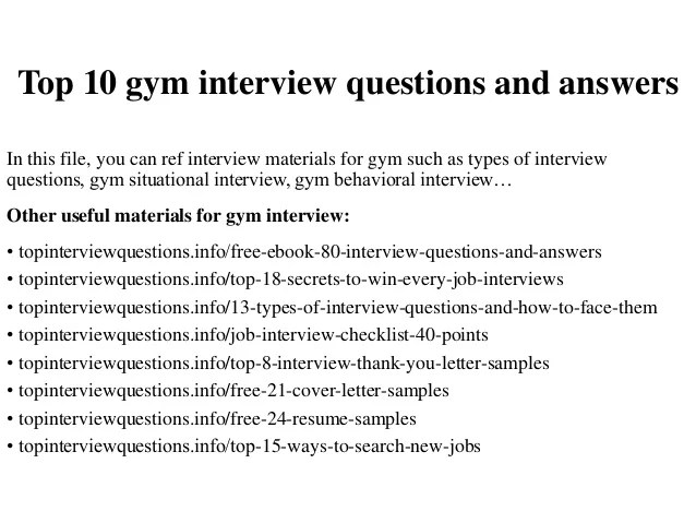 Top 10 gym interview questions and answers