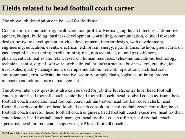 Top 10 head football coach interview questions and answers