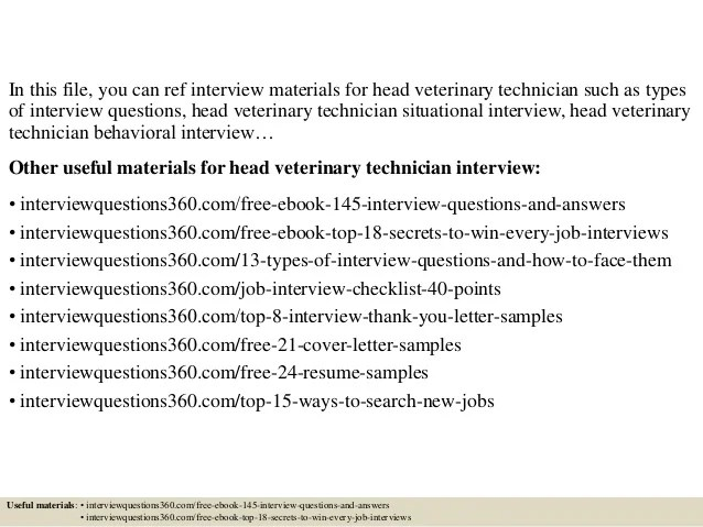 Top 10 head veterinary technician interview questions and answers