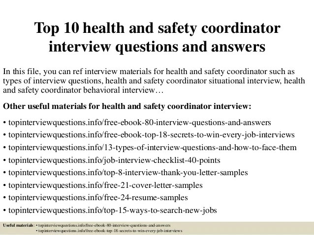 Top 10 Health And Safety Coordinator Interview Questions
