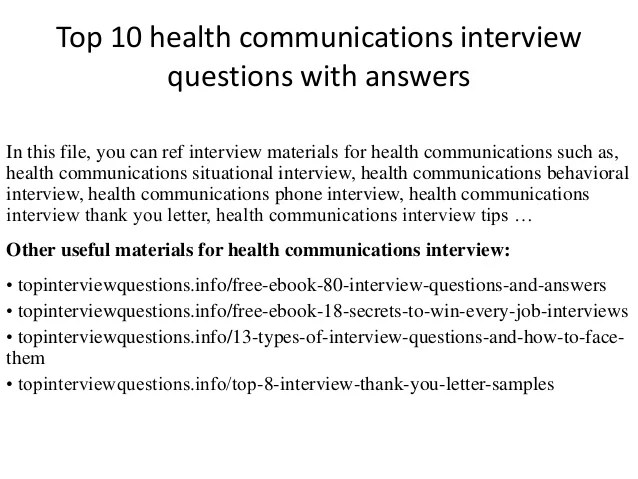 Top 10 health communications interview questions with answers