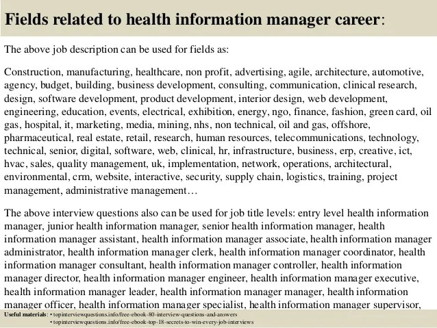 Top 10 Health Information Manager Interview Questions And