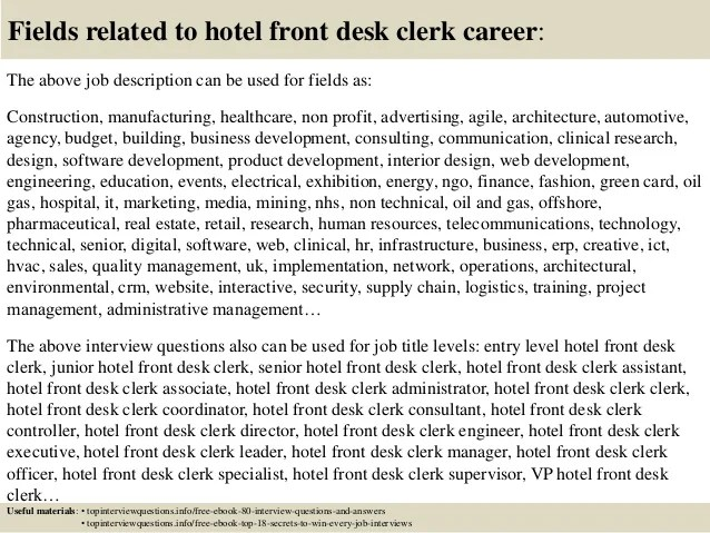 Top 10 hotel front desk clerk interview questions and answers