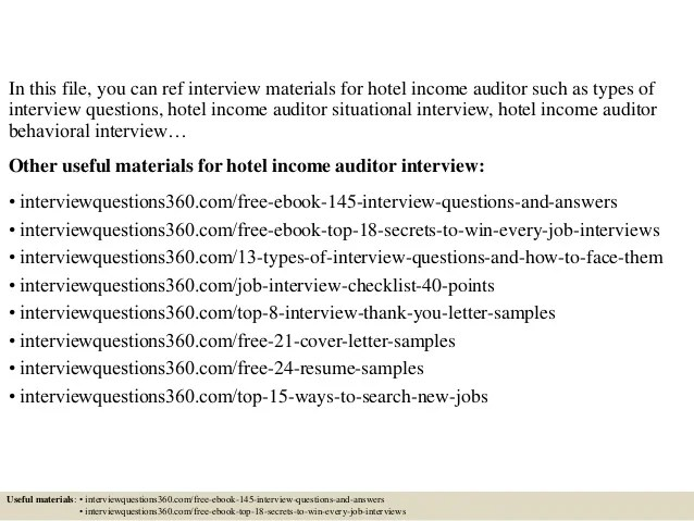 Income Auditor Cover Letter