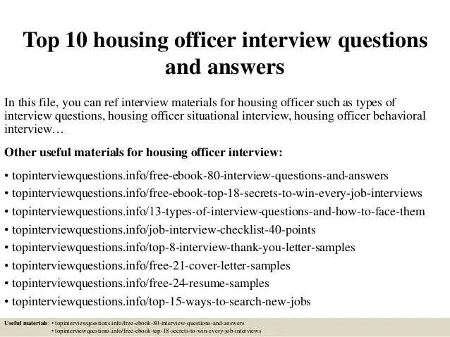 Top 10 housing officer interview questions and answers