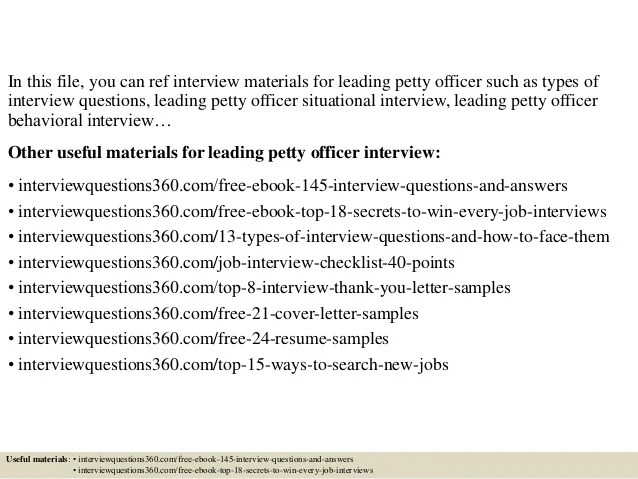 Top 10 Leading Petty Officer Interview Questions And Answers