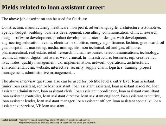 Top 10 loan assistant interview questions and answers