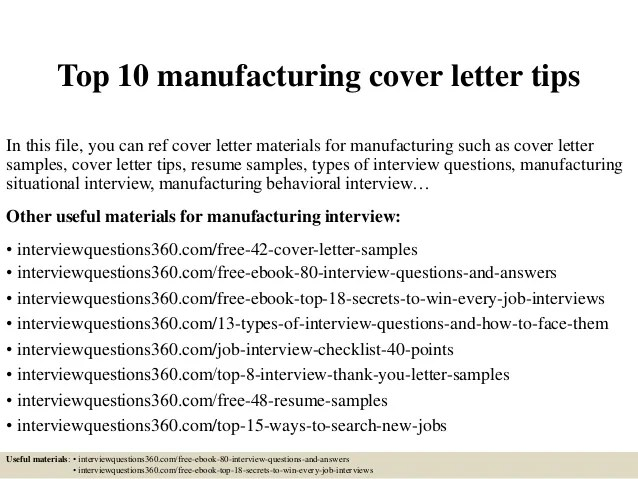 Top 10 manufacturing cover letter tips