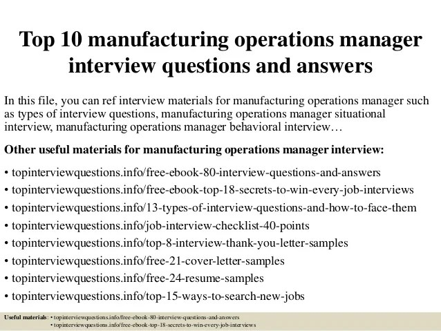 Top 10 Manufacturing Operations Manager Interview