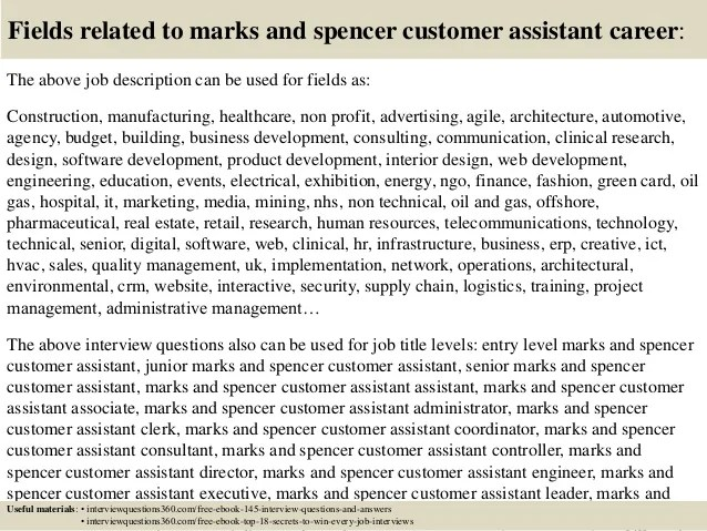Top 10 marks and spencer customer assistant interview questions and a