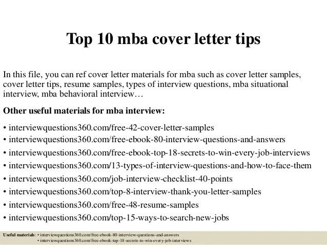 Top 10 mba cover letter tips