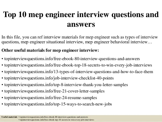 Top 10 mep engineer interview questions and answers