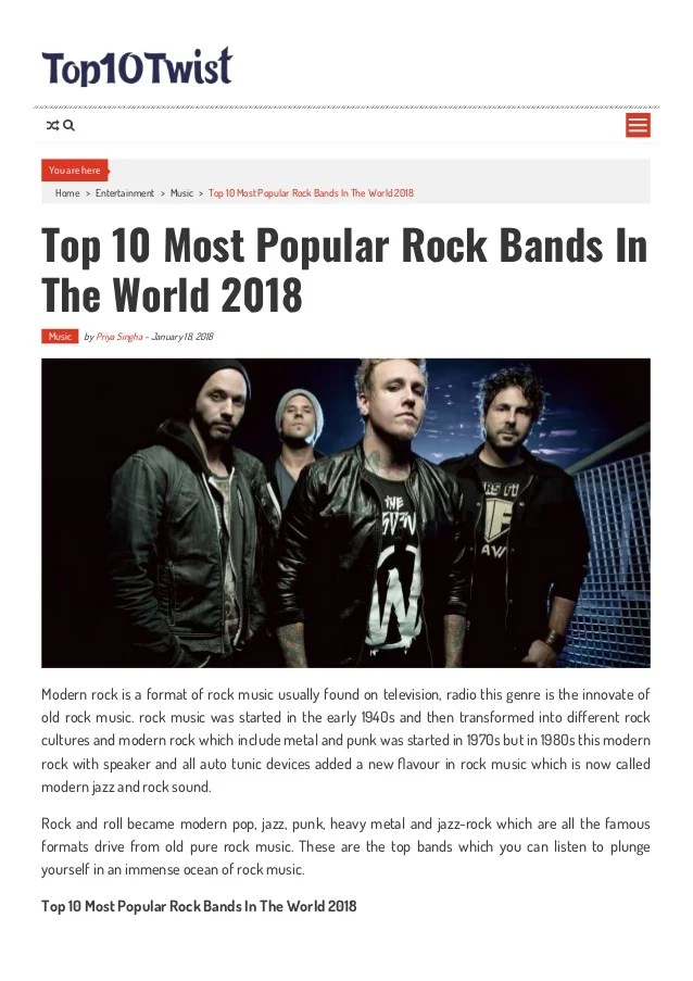 Top 10 Most Popular Rock Bands In The World 2018