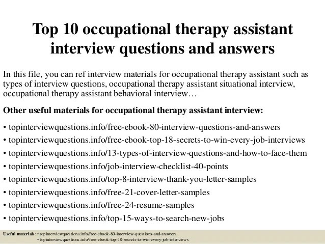Top 10 Occupational Therapy Assistant Interview Questions