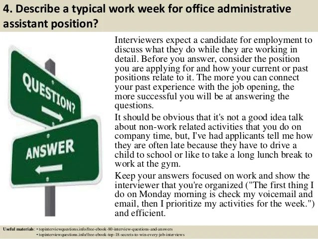 interview questions and answers for administrative assistant