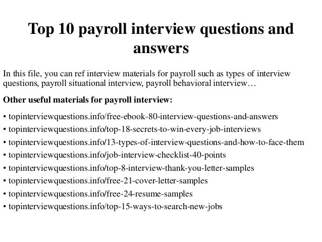 Top 10 Payroll Interview Questions And Answers