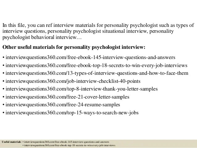 Top 10 personality psychologist interview questions and answers