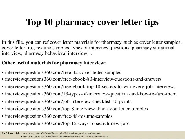 Top 10 pharmacy cover letter tips