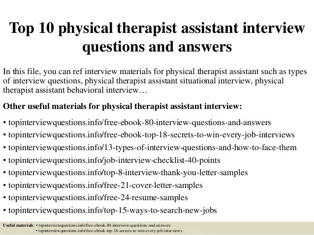 Top 10 Physical Therapist Assistant Interview Questions